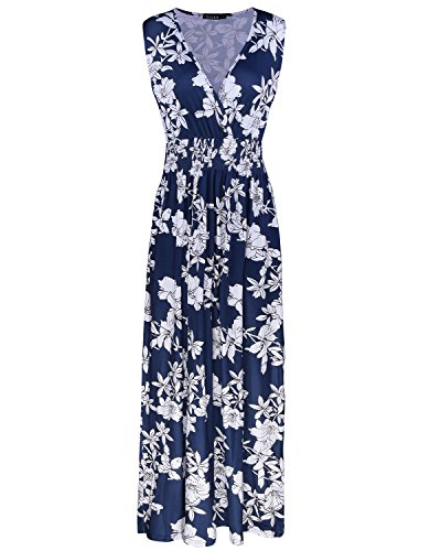 OUGES Women's V-Neck Sleeveless Pocket Casual Maxi Dress(Floral-05,L)