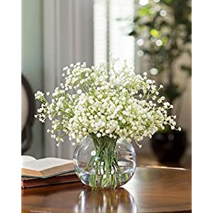 JUSTOYOU 10pcs Artificial Babies Breath Flowers Fake Gypsophila PU Silica for Wedding Bridal Bouquet Home Floral Arrangement White (White 21.7 in) 3