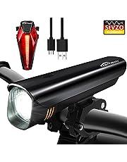 toptrek Fahrradlicht StVZO Zugelassen LED Fahrradbeleuchtung Fahrradlichter Set (Frontlichter + Rücklicht) USB Wiederaufladbare Samsung Li-ion Batterie/CREE LED Wasserdicht IPX4 Fahrradlampe