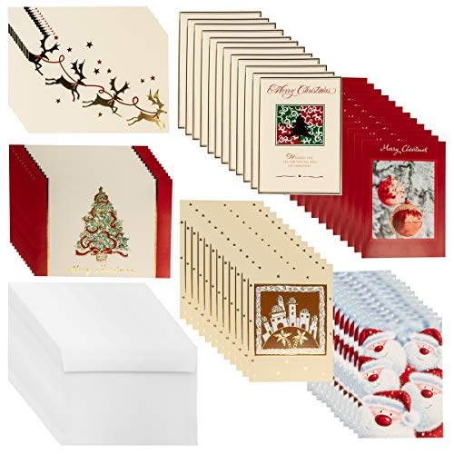 Designer Greetings (72 count) Boxed Christmas Cards & Envelopes Holiday Greetings Bulk Sets Glitter Foil