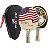Standard Size Table Tennis Paddle Set | High Performance Ping Pong Paddle Racket | Durable Wood Rackets with Case | Professional Made Paddles | Table Tennis Bat | Set of 2 Bats with USA Patriotic Logo