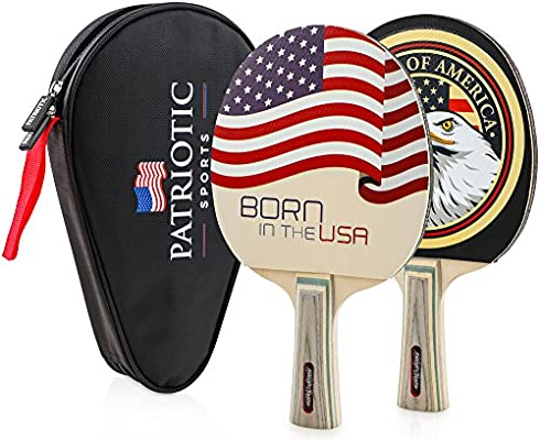 Amazon.com: Patriotic Sports High Performance Ping Pong Paddles ...