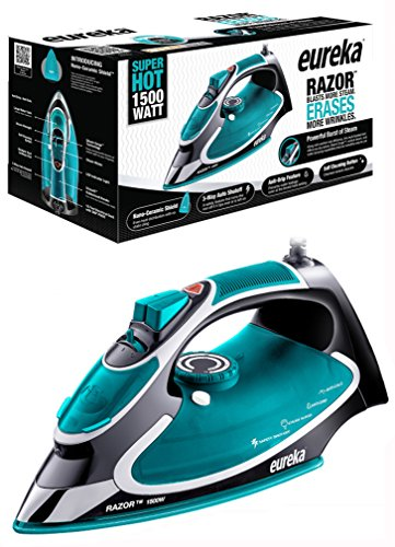 Eureka Razor Powerful Steam Iron Burst, Non-Stick Ceramic Soleplate with Auto-Off Super Hot 1500 Watt Iron Aqua Pouch Included