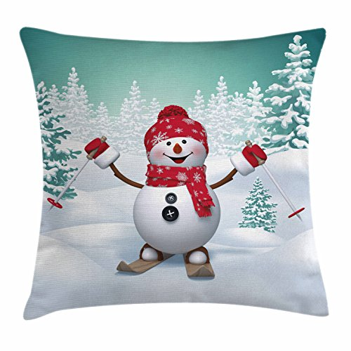 Christmas Throw Pillow Cushion Cover by Ambesonne, Snow Covered Mountain with Fir Trees and Skiing Snowman Fun Holiday Activity, Decorative Square Accent Pillow Case, 18 X 18 Inches, Teal Red White (Teal Red Christmas And)