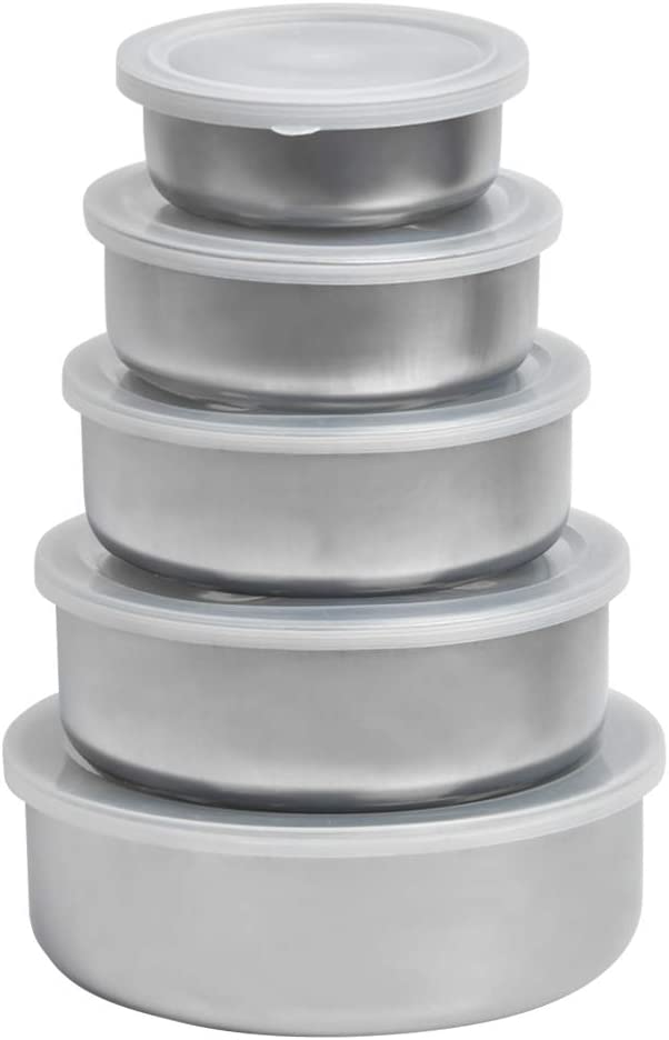 QLOUNI Set of 5 Food Storage Containers, Stainless Steel Food Storage Containers with Plastic Lids, Salad Dressing Containers Food Storage Bowls - Food Containers for School, Office and Picnic
