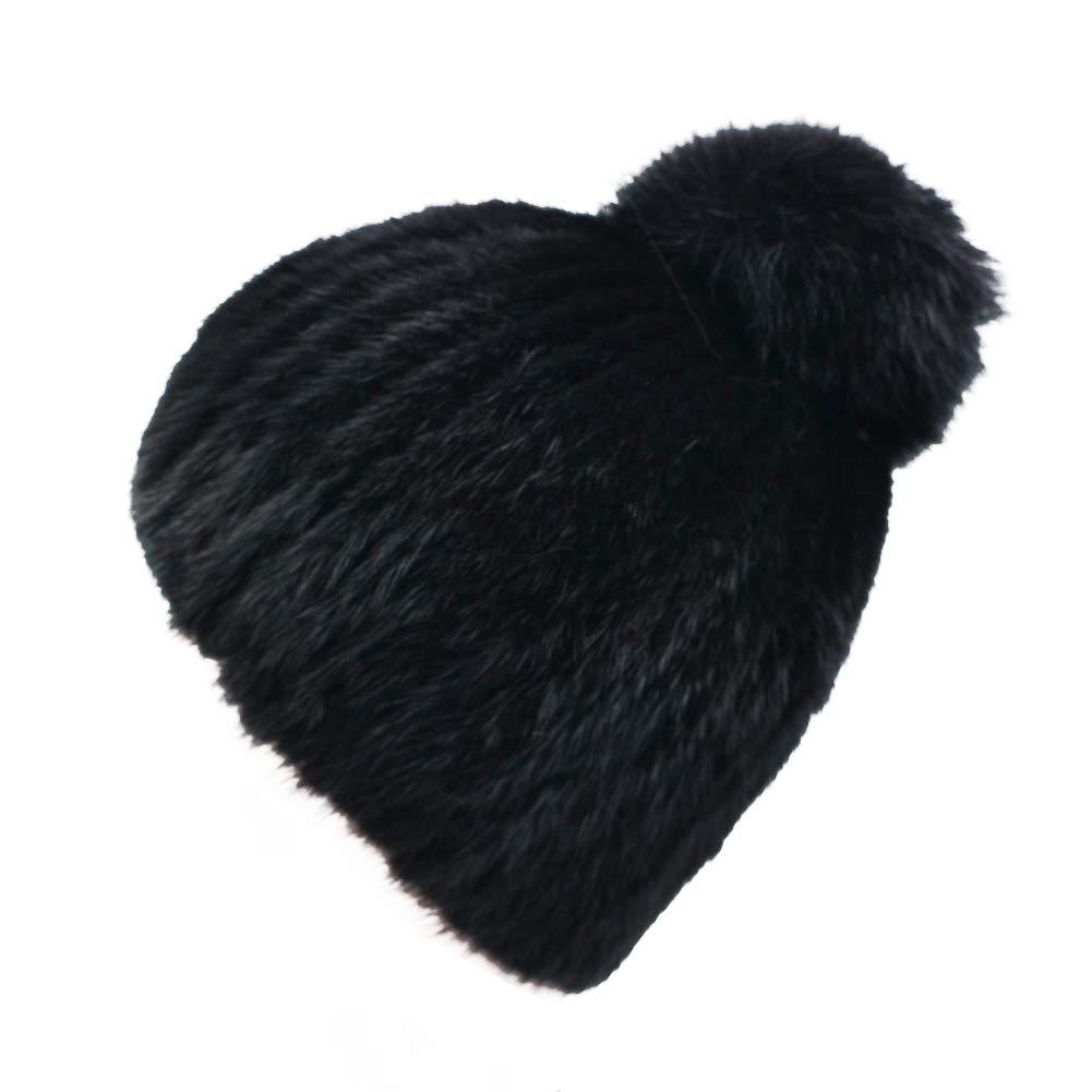 a452c5161 IFSUN Luxurious Real Mink Fur Warm Knitted Pom Pom Chunky Beanie Hat ...