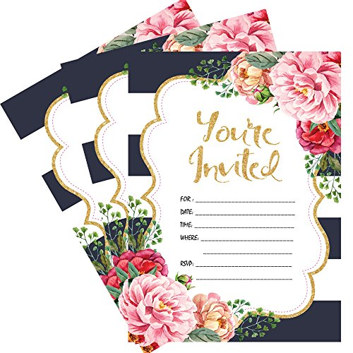 25 Floral You're Invited Party Invitations 5x7 Printed Card Stock with Envelopes Stripes Rsvp Card