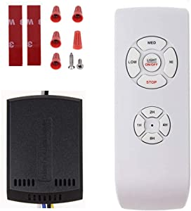Fan Remote Control Kit, Small Size Receiver Universal Ceiling Fan Remote Control, 3 in 1 Light Speed & Timing Wireless Control for Hunter/Harbor Breeze/Westinghouse/Honeywell/Other Ceiling Fan