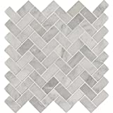 Arabescato Carrara Herringbone 11.63 In. X 11.63 In. Honed Marble Mesh-Mounted Mosaic Tile, (9.4 sq. ft., 10 pieces per case)