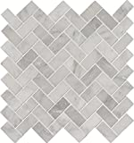 M S International Arabescato Carrara Herringbone 11.63 In. X 11.63 In. Honed Marble Mesh-Mounted Mosaic Tile, (9.4 sq. ft., 10 pieces per case)
