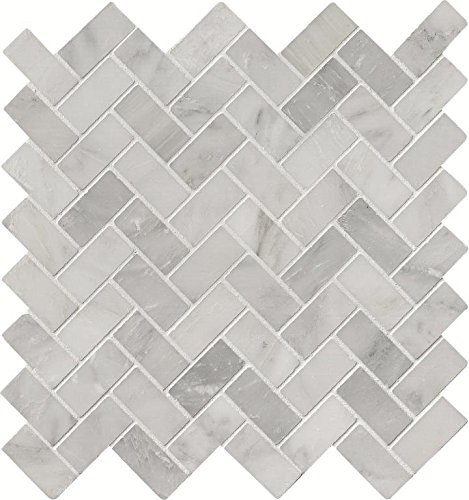 M S International Arabescato Carrara Herringbone 11.63 In. X 11.63 In. Honed Marble Mesh-Mounted Mosaic Tile, (9.4 sq. ft., 10 pieces per case) by MS International