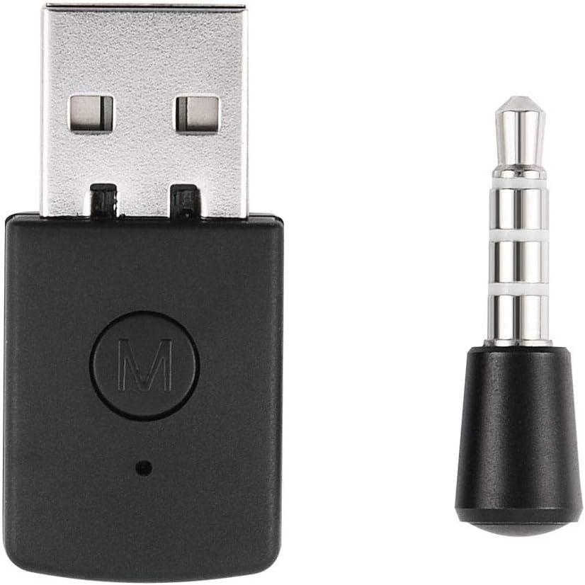 Diyeeni Adaptador USB Mini USB 4.0 Adaptador Bluetooth/Dongle Receptor y transmisores para Playstation PS4 con micrófono inalámbrico para Auriculares con Bluetooth