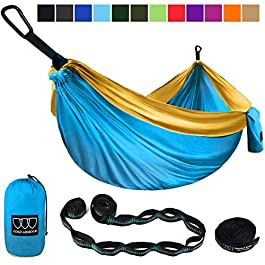 Gold Armour Camping Hammock – Extra Large Double Parachute Hammock (2 Tree Straps 32 Loops,20 ft Included) USA Brand Lightweight Nylon Mens Womens Kids, Camping Accessories Gear