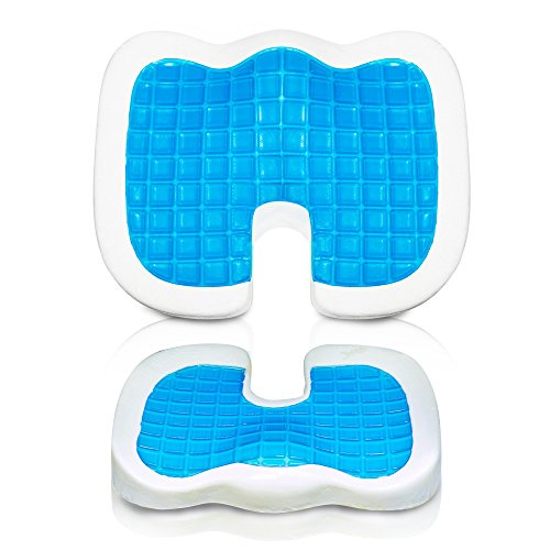Relaxca Memory Foam Seat Cushion with Cooling Gel Pad - Deluxe Solution for Comfortable Sitting - Extra Thick