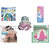 Girl's Gift Bundle - Ages 6-12 [5 Piece] - World of Disney Eye Found It Board Game - Blue Mountain Wallcoverings DF129915WM Princess Self-Stick Growth Chart - Build A Bear Ballerina Bear White w/ Pi