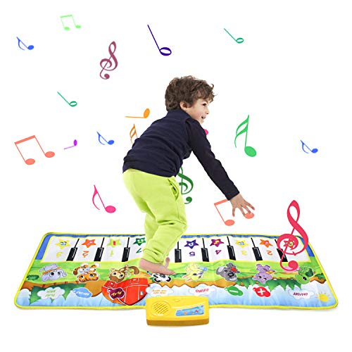 zoordo Musical Piano Mat, Educational Learning Toy 8 Different Instruments Sound 19 Keyboard with Play Record Playback Demo Mode for Toddlers Kids Children (Small 39.4 x 14.2 inches)