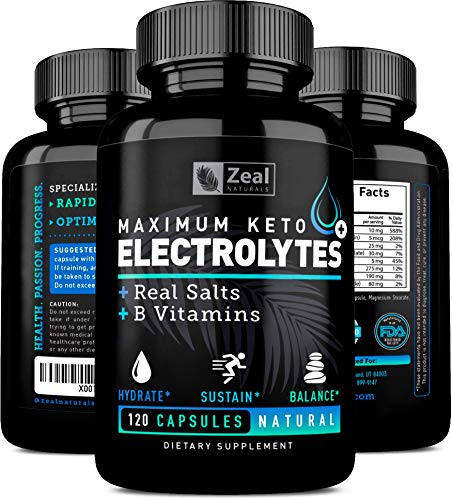 (Keto Electrolyte Supplement (120 Capsules) Electrolyte Tablets w Real Salt, B Vitamins, Magnesium and Potassium Supplements - Electrolyte Powder Salt Pills & Electrolyte Drink Hydration Tablets)