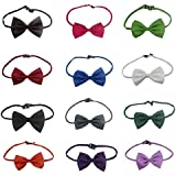 """OurWarm 8-17"""" Neck Cute Pet Dog Cat Bow-Tie Bow Necktie Clothes Collar Mix Color 12 Colors,Package for 12"""