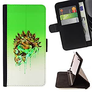 BullDog Case - FOR/Sony Xperia Z3 D6603 / - / GREEN CRYSTAL GOLD SKULL WHITE POISON /- Monedero de cuero de la PU Llevar cubierta de la caja con el ID Credit Card Slots Flip funda de cuer