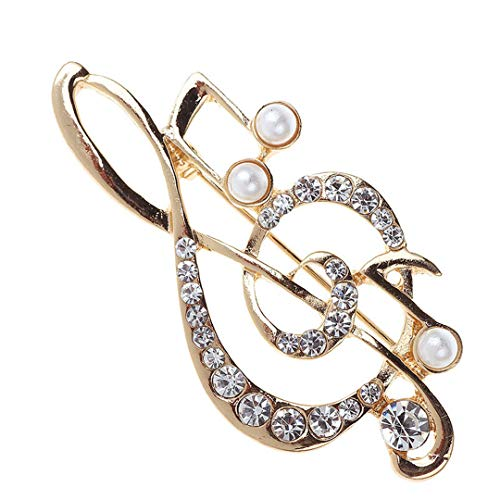 Music Note Large Brooches For Women Austrian Crystal Scarf Coat Clips Pins Icon Jewelry Party Dress Broche Decoration