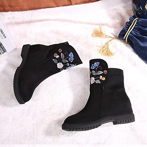 KHSKX-Invierno Botas Nuevas Zapatos De Mujer Piso Interior De Caucho Color Manga Corta Zapatos De Mujer Talon Plano Redondo Martin Botas Zapatos De TelaTreinta Y CincoBlack