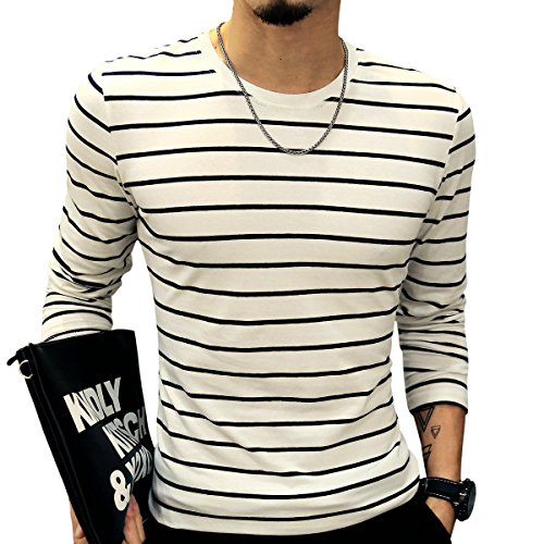 LOGEEYAR Mens Long-Sleeve Cotton Fitted Contrast Color Stitching Stripe Slim T-Shirt (White,M) by LOGEEYAR (Image #2)