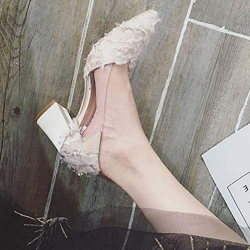 Spessore Wild Stitching Singole Yukun Di Shallow Shoes Pointed Autumn Tacchi Scarpe Dea Alti Con Tacchi Apricot Trasparenti Bocca Nero Female alti vqvZSa