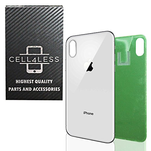 CELL4LESS Replacement for the iPhone X Back Glass Cover OEM Quality Battery Door Replacement w/Adhesive & Removal Tool (White)