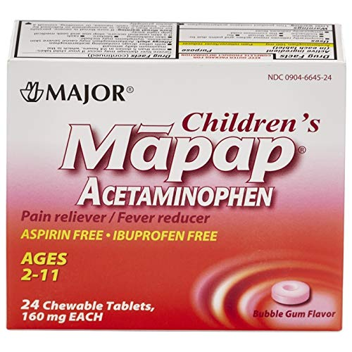 Major Mapap Jr 160 Mg Ages 2-11 Chew Tabs 24 count Bubble Gum Flavor - Pack of 3  - Packaging May Vary