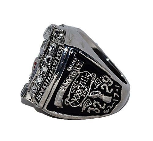 NEW ENGLAND PATRIOTS (Owner Robert Kraft) 2003 SUPER BOWL XXXVIII WORLD CHAMPIONS Rare & Collectible High Quality Replica NFL Football Silver Championship Ring with Cherrywood Display Box