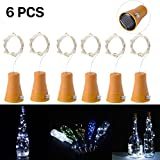 Solar Led Bottle Cork Lights, 1M Copper Wire String Lights with 10 Cool White LED Bulbs for Bottle DIY Decor, Outdoor BBQ, Gathering, Party, Wedding, Holiday[Pack of 6]