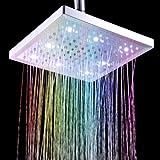"""Docooler 8"""" inch Square 7 Colors Changing LED Shower Head Bathroom Showerheads Sprinkler LD8030-B1"""