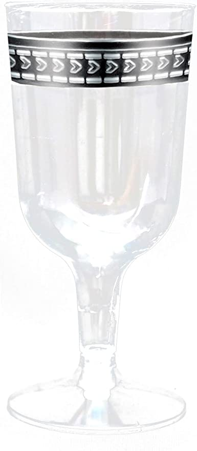 Amazon Com Symphony Clear With Silver Rim 5oz Heavyweight Plastic Wine Goblets 10 Count Kitchen Dining