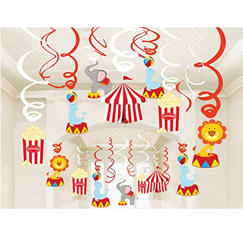 CC HOME Carnival&Circus Party Decorations, Circus Themed Hanging Swirl Decorations,Carnival Hanging Ceiling Streamers for Home,Class room Baby Shower,Birthday Party Decorations ()