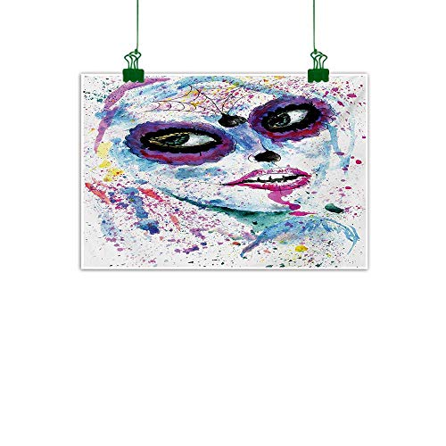 Girls,Oil Painting Grunge Halloween Lady with Sugar Skull Make Up Creepy Dead Face Gothic Woman Artsy Abstract Artwork Home Decor Blue Purple W 32