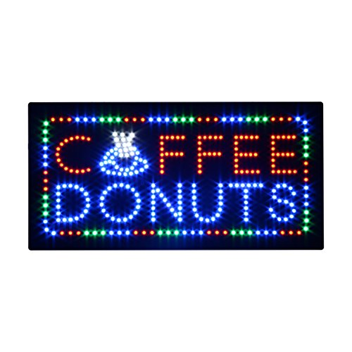 HIDLY LED Coffee Donuts Cafe Espresso Open Light Sign Super Bright Electric Advertising Display Board for Message Business Shop Store Window Bedroom (24 x 12 inches) -