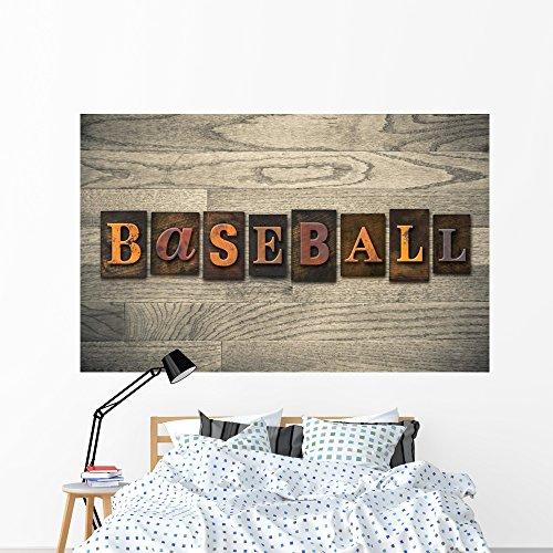 - Wallmonkeys Baseball Wooden Letterpress Concept Wall Mural Peel and Stick Graphic (72 in W x 46 in H) WM140540