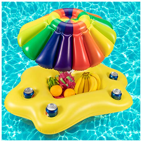 Biubee Inflatable Sun Umbrella Drink Holder- Multi Floating Beverage Salad Fruit Serving Bar, Cup Bottle Holder Pool Float Holds 4 Drinks for Kids Adults Summer Beach Swimming Pool Water Fun