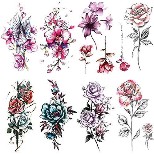 Oottati 8 Sheets Women Pink Purple Blue Flower Rose Bird Temporary Tattoos for Arm