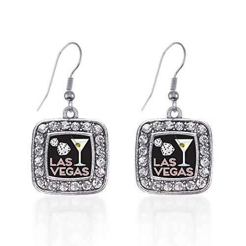 Inspired Silver Las Vegas Classic Charm Earrings Square French Hook Clear Crystal - Las Square Vegas Fashion