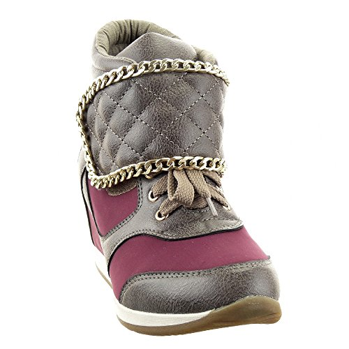 Sopily - damen Mode Schuhe Sneaker Keilabsatz Hohe gesteppt schuhe Kette metallisch Schuhabsatz Keilabsatz - Grau