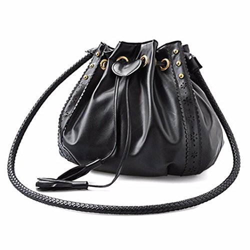 IEason bag, Lady Handbag Shoulder Bag Tote Purse Leather Women Messenger Hobo Bags (Black)