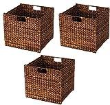 Baskets for storage Medium wicker basket Shelf baskets Banana Leaf Storage Bin - Stained/Dk. Brown Basket for toys Basket for storage of toys Wicker basket (3, Dk. Brown)