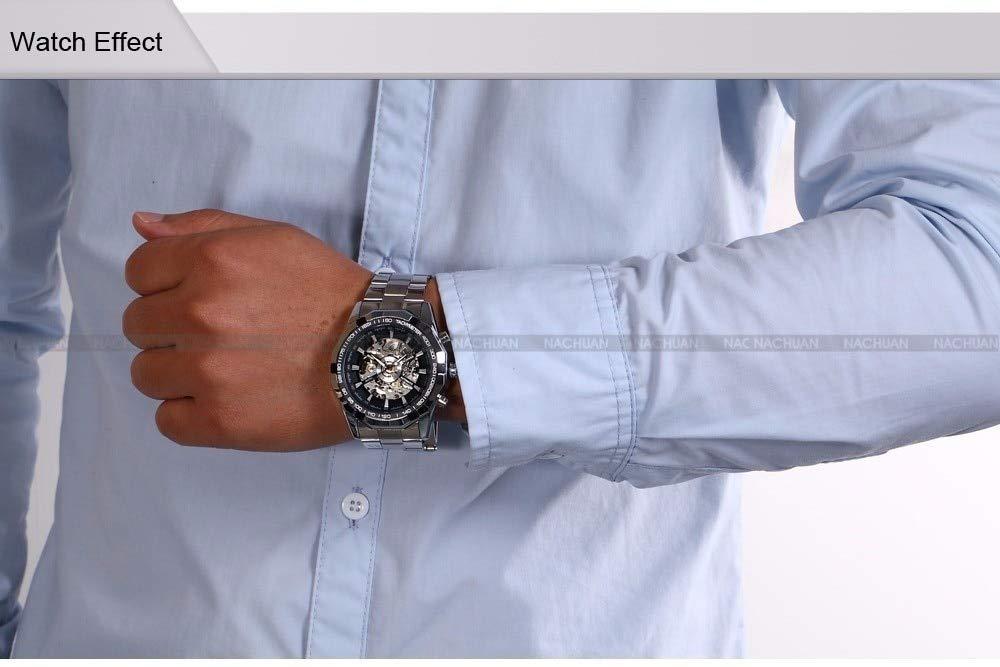 DMZZYGJR Fashion Top Brand Winner herrklockor Skeleton Clock Man klassisk sportklocka present automatisk mekanisk SVART