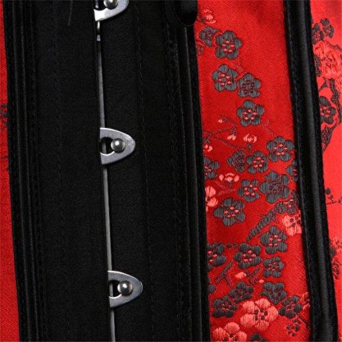 Womens Red Lace Through Top Floral Overbust Corset Waist Cincher Bustier
