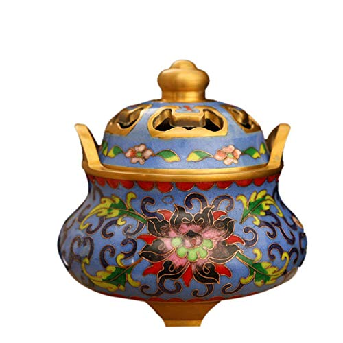 JYEMDV Chinese Antique Stove Ding Incense Burner Pure Copper Palace Cloisonne Craft Incense Burner Luxury Ornaments ()