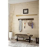 Alaterre AZAMBA032920 Sonoma 48' Metal and Reclaimed Wood Storage Coat Hook with Bench, Brown