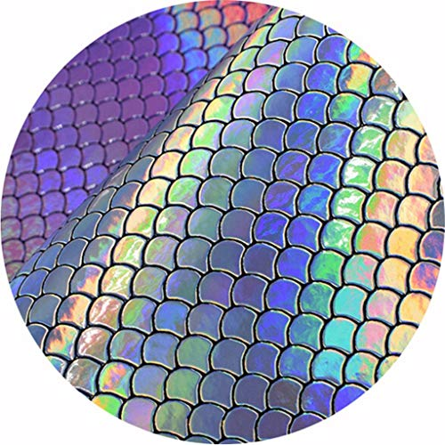 SEVENHOPE Mermaid Fabric Sheet Roll Fish Scale Holographic Sequin Faux Leather Bow Crafts Phone Cover Bag Sewing Patchwork DIY Craft Purple ()