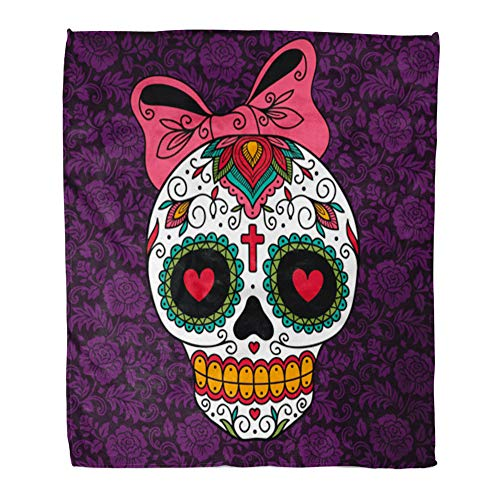 Emvency Throw Blanket Warm Cozy Print Flannel Red Day Mexican Sugar Skull Girl Yellow Dead Tattoo Comfortable Soft for Bed Sofa and Couch 60x80 -
