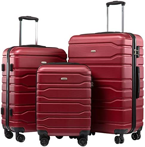 Seanshow Luggage 3 Piece Set Suitcase Hardside Spinner Luggage Set 20in 24in 28in Burgundy